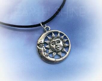Sun Moon choker necklace, cord or chain, Boho, Grunge