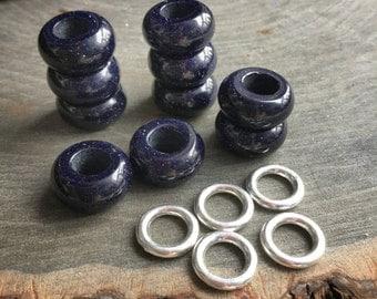 Blue Goldstone dread beads, 6mm hole, Blue Sandstone dread bead set * FOR SMALL LOCS *