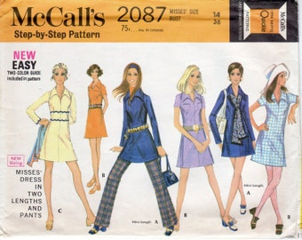 1960s A Line Dress with Pointed Collar & Pants - Vintage Pattern McCall's 2087 - Size 14 Bust 36 UNCUT FF