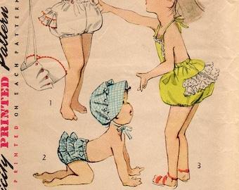 1950s Toddler Playsuit Bloomers & Bonnet - Vintage Pattern Simplicity 4359 - Size 3