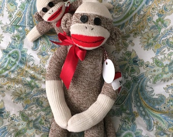 Mom and Baby Sock Monkey Doll, Dad and Baby Sock Monkeys