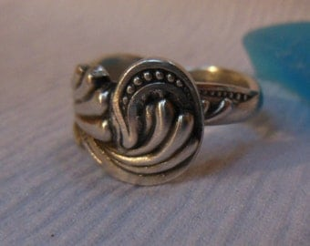 Antique Spoon Ring  Sterling Silver  Size 6.75