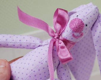 Bunny Hare Rabbit Fabric Cotton Toy Animal Baby Girl Soft Customized Toys Handmade Gift Purple Violet
