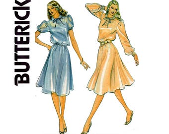 Butterick 3550 Puff Sleeve Dress & Slip 80s Vintage Sewing Pattern Size 16 Bust 38 inches UNCUT Factory Folded