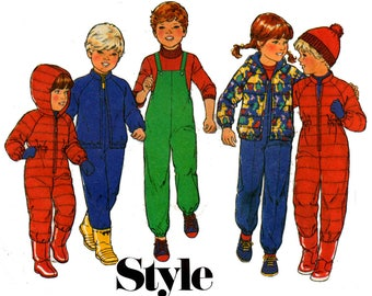 Style 3468 Kids Lined Ski Suit Parka Jacket & Overalls Vintage Sewing Pattern Size 5 Breast 24 inches UNCUT Factory Folded