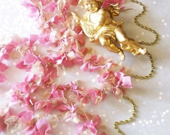 Shabby Chic Pink Christmas Garland Cottage Decor. Christmas Tree Garland. Cottage Wedding Decoration