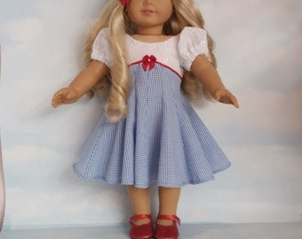 18 inch doll clothes- #309 DOROTHY  Dress made to fit the American Girl Doll - FREE SHIPPING