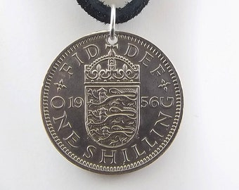 England Coin Necklace, 1 Shilling, Coin Pendant, Leather Cord, Mens Necklace, Womens Necklace, Coin Jewelry, Birth Year, 1956