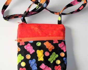 Gummy Bear Quilted Purse,Quilted Inside/Out,Handcrafted Mini Purse,Waist Belt Bag,Shoulder Cross Body Bag,Phone Pouch,Your Choice,RTS