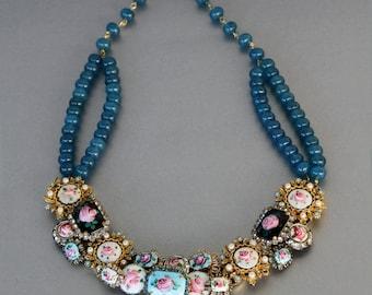 Delicate as a Victorian Rose Necklace in Enamel Guilloche Rhinestones