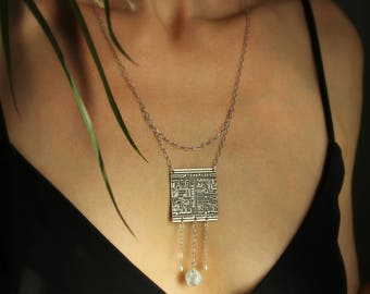 St. Charles Sterling Silver Etched Necklace of New Orleans Historical Map