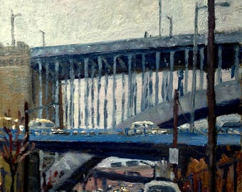 Under Cross Bronx NYC, Rain. 8x10 Original Oil Painting on Panel, Urban Industrial Realist New York City Impressionist Signed Original Oil