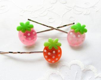 Kawaii Strawberry Hair Pins / Bobby Pins / Cute / Summer / Sweet Lolita / Fruit / Hair