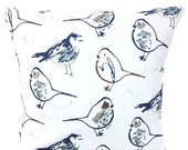 Navy Blue Bird Pillow Covers Decorative Pillows Cushion Covers Regal Blue Brown Tan Taupe White Birds Couch Pillows Bed Various SIZES