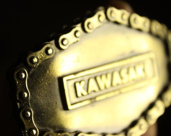 Kawasaki Motorcycle Vintage Belt Buckle 1976  #619 Made by The Great American Buckle Company Chicago Brass Cycle Chain Design