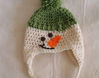 Crochet Infant Snowman hat