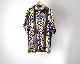 SURF abstract print 80s 90s RAYON short sleeve button up shirt