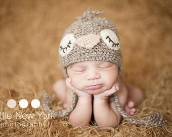 15% OFF   Newborn photo prop, newborn hat, newborn boy, newborn girl, newborn props, Sleepy birdie hat in newborn size.