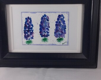 Original Watercolor Bluebonnet Painting ACEO Miniature Framed Art