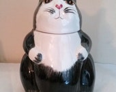 Fat Cat Cookie Jar, Large Black White Vintage N.S Gustin Co. Cat Cookie Jar - Black with White Art Pottery, Animal Pottery, USA Pottery