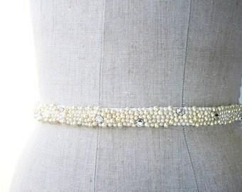 Beaded Sash, Crystal Sash, Crystal Bridal Belt, Wedding Sash