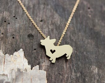 Pembroke corgi necklace, tiny BRASS hand cut pendant with heart, with 14K gold filled chain, tiny dog breed jewelry