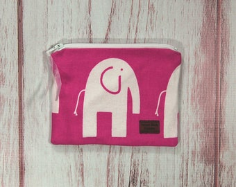 Snack Size Reusable Bag - Zipper Pouch - Sandwich Bag - Reusable Bag - Elephant on Hot Pink