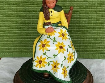 hand sculpted polymer clay Mothers Day Quilter Sunflower