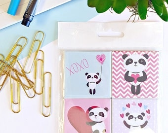 Panda Love Magnets - Set of Four 2-Inch Magnets - Kawaii