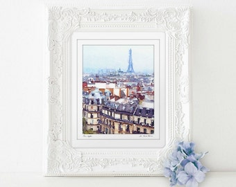 Paris bedroom decor, Eiffel Tower art, unique gift for mom, travel gifts, Paris art print, Paris watercolor art, mothers day from daughter