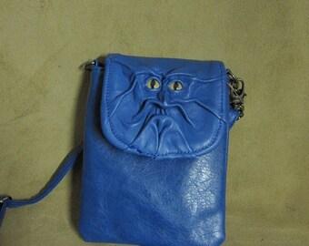 "Grichels leather purse/handbag - ""Chazedat"" 29458 - blue with honey brown and green slit pupil bobcat eyes"