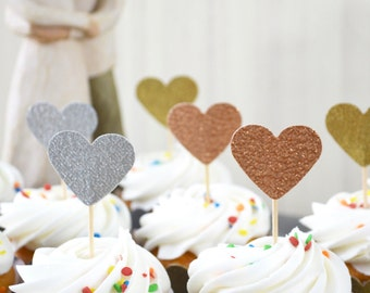 Glitter Heart Cupcake Toppers - Available in gold, silver, bronze, copper, and many other colors