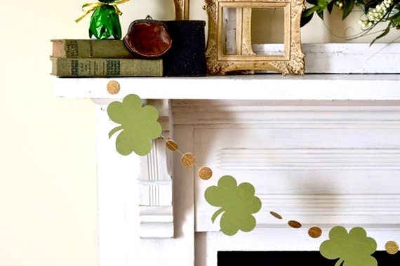 St. Patrick's Day garland - clover shamrocks and gold circles
