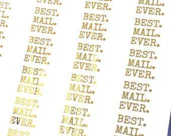 GOLD FOIL Best Mail Ever stickers - typewriter font happy mail gold stickers for packaging, penpal letters, party invitations, care packages
