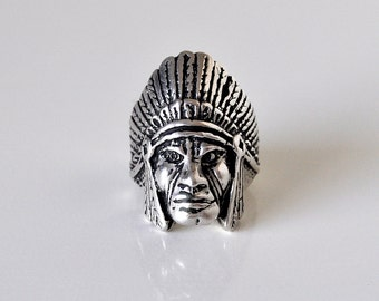 Native American Sterling Silver Chief Ring Size 9