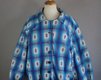 Vintage 90s Women's Plus Size Bright Blue Ombre Southwest Modern Prairie Fall Winter Tribal Navajo Jacket, Size Large