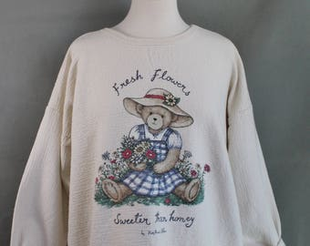 Vintage 90s Womens Plus Size Cute Bear Floral Cotton Sweatshirt, Novelty Print, Spring Top, Shabby Chic, Cottage Style, Summer, Size Large