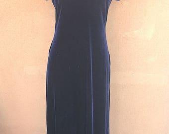 Navy Blue Velvet Maxi Dress with Frogs Appliqué