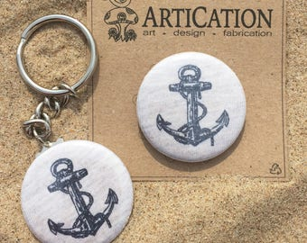"Anchors Aweigh, sealed upcyled fabric button magnet, 1.5"" (1 1/2 inch, 38mm)"