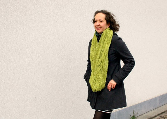 Knit Infinity Scarf, Green Loop Scarf, One of a Kind Cable Circle Scarf, Greenery Cowl Hand Knitted Womens Fashion Accessory, Winter Fashion