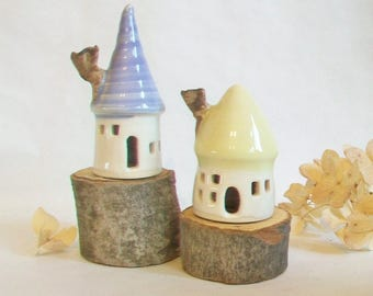 Fairy Houses - Garden Fairy Houses -Set of 2 - Pastel  Colors - Lavender and Yellow  Roofs - Actual Set - Ready to Ship for Mothers Day