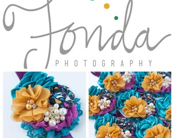 Fonda - plum mustard teal rosette chiffon and lace headband bow