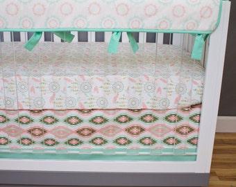 Dream Catcher Baby Bedding Girl, Bumperless Crib Bedding Butterfly Boho Southwestern, Rail Guards, Feathers Coral Mint Glitter Gold Nursery