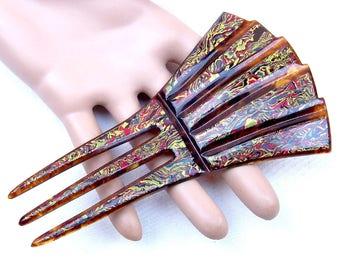 Art Deco hair comb celluloid end of day hair accessory hair pin hair pick hair fork decorative comb hair jewelry
