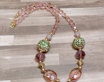 Pink & Green Beaded Necklace - OOAK - Statement Necklace - Pastel Necklace