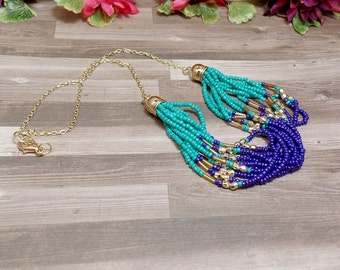 Blue Strand Bead Necklace - Statement Necklace