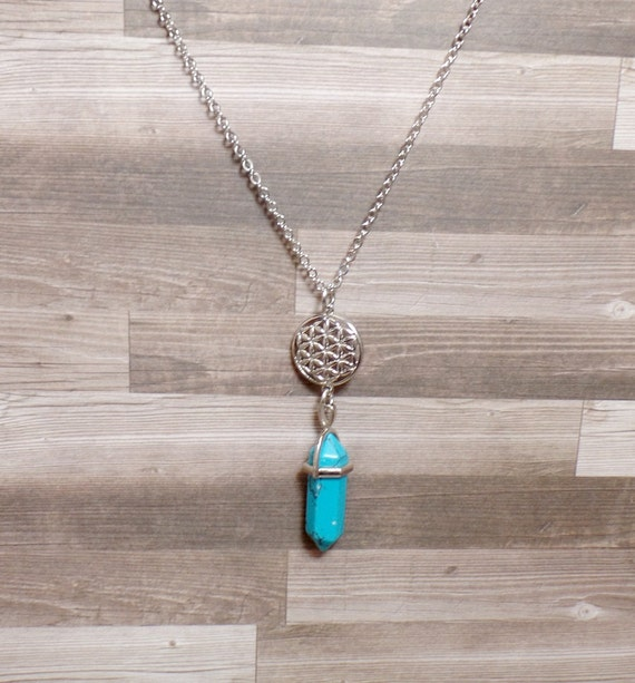 Flower of Life Turquoise Necklace - Gemstone Point Necklace - Sacred Geometry