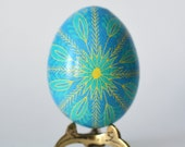 Ukrainian gifts Blue Yellow Pysanka batik egg on chicken egg shell Ukrainian Easter egg hand painted egg