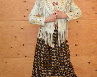 On HOLD Vintage Cream Leather Fringe Native American Studded Breast Plate Beaded Coat SZ S/M