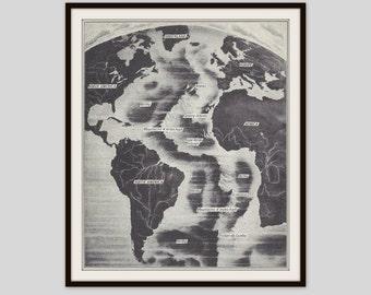 Geology Illustration, Science Print, Black and White Map, Mid Atlantic Ridge, Atlantic Ocean, Classroom Art, Teacher Gift, Vintage Art Print